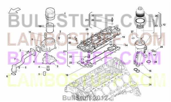 2014 Lamborghini Gallardo Lp 550 2 Coupe England Oil Filter 115 01 00