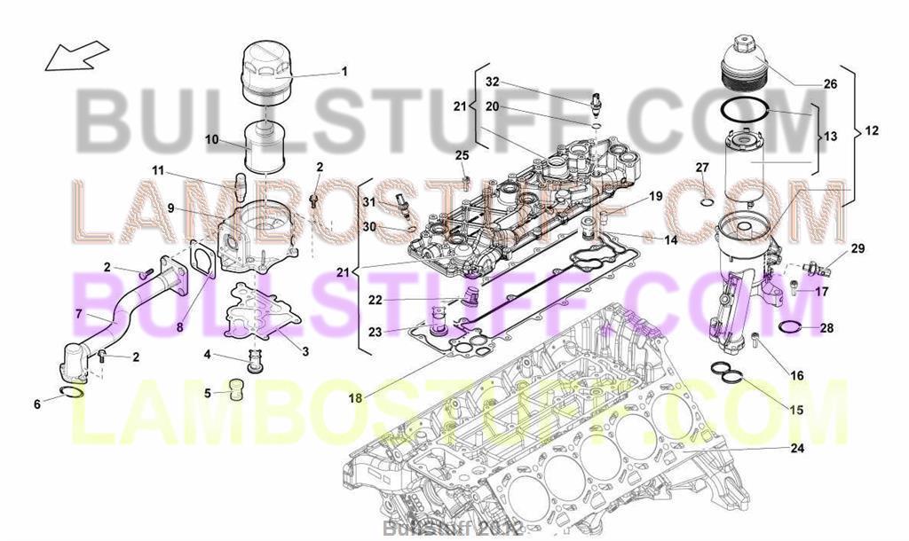 2011 Lamborghini Gallardo Lp 550 2 Coupe Japan Oil Filter 115 01 00