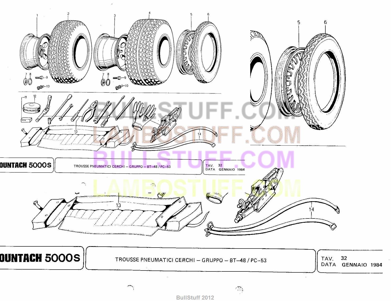 1984 Lamborghini Countach 5000s USA Tool Kit Tires and Rims 32 – Lamborghini Countach Wiring Diagram