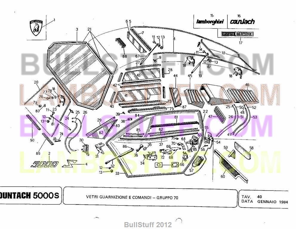 1984 Lamborghini Countach 5000s USA Glass Gaskets and Controls 40 – Lamborghini Countach Wiring Diagram