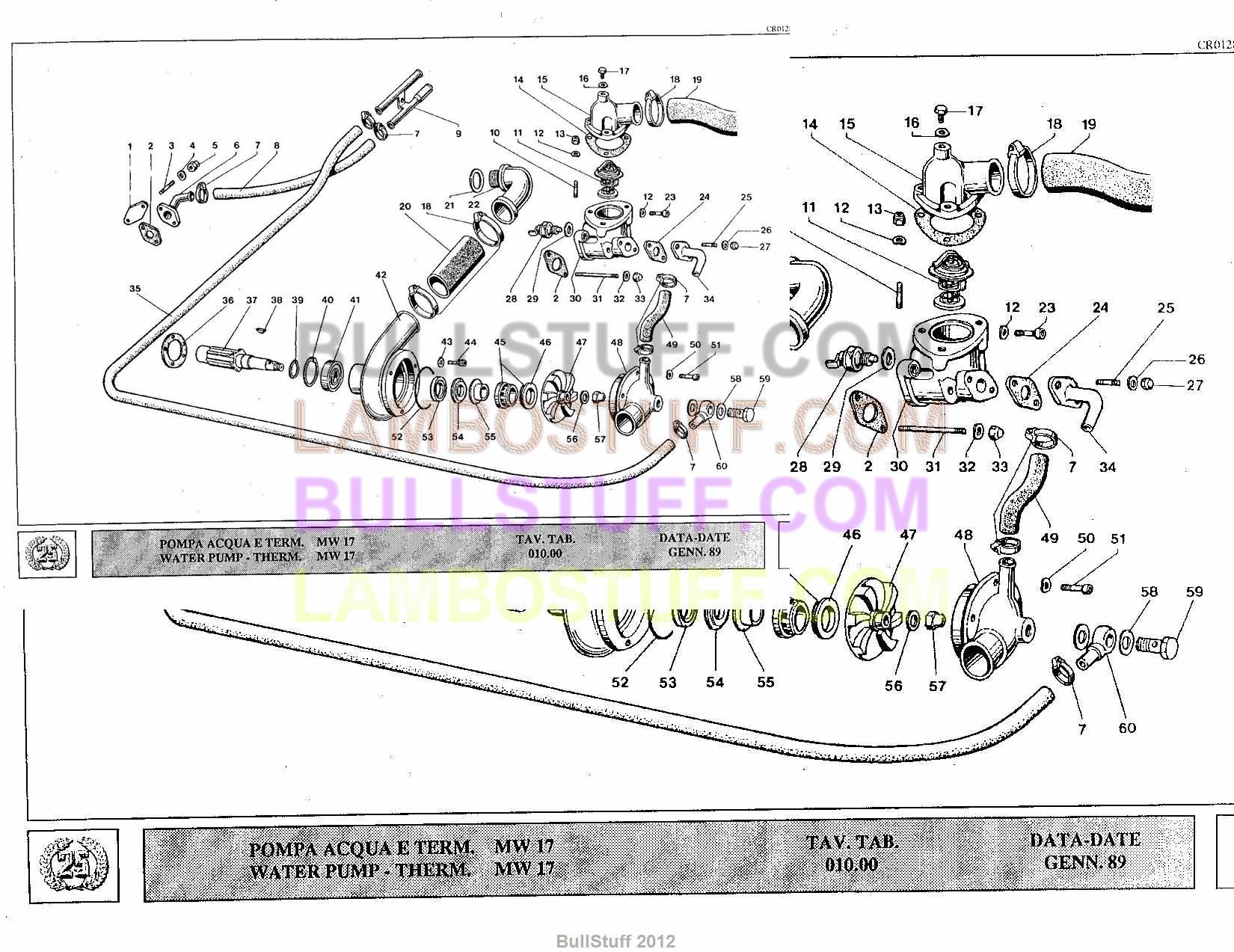 1989 lamborghini countach 25th usa water pump therm. Black Bedroom Furniture Sets. Home Design Ideas