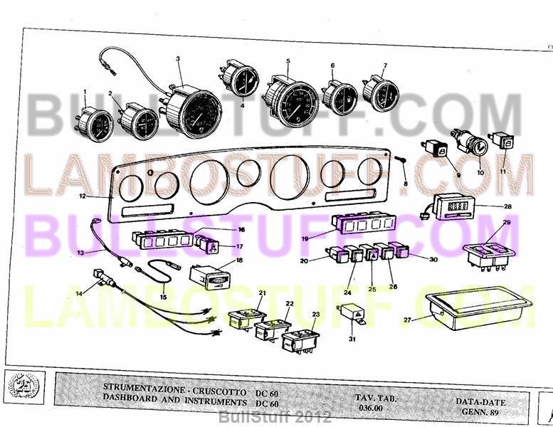 1989 Lamborghini Countach 25th USA Dashboard and Instruments 03600 – Lamborghini Countach Wiring Diagram