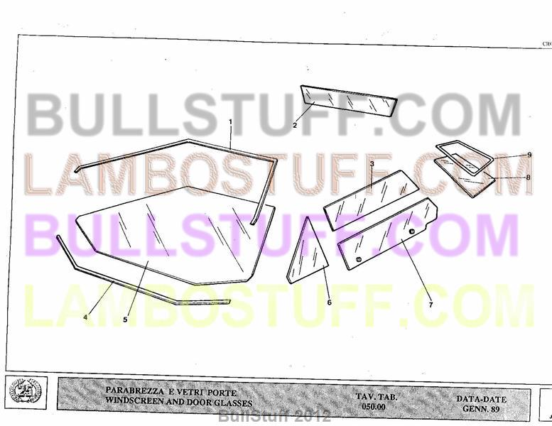 1989 Lamborghini Countach 25th USA Windshield and Door Glass 05000 – Lamborghini Countach Wiring Diagram