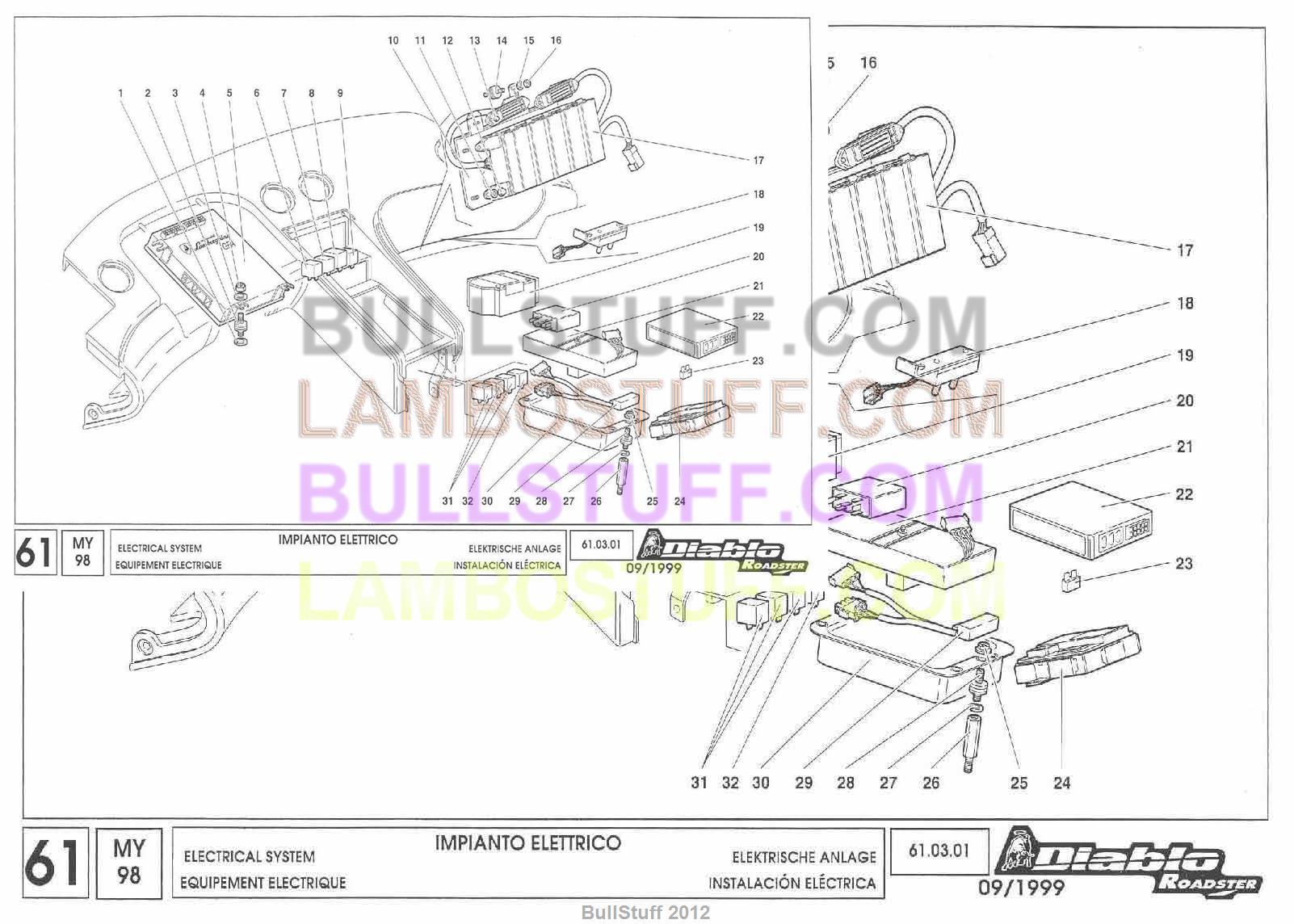 1998 lamborghini diablo roadster usa electrical system 61 03 01 rh bullstuff com