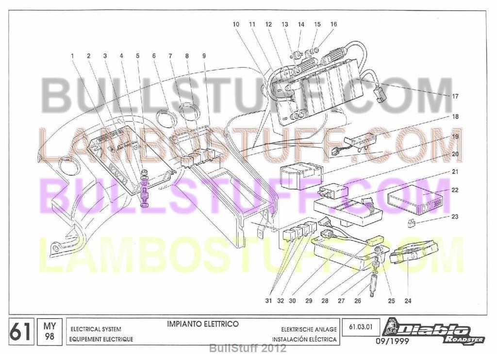 1998 Lamborghini Diablo Roadster Usa Electrical System 61 03 01