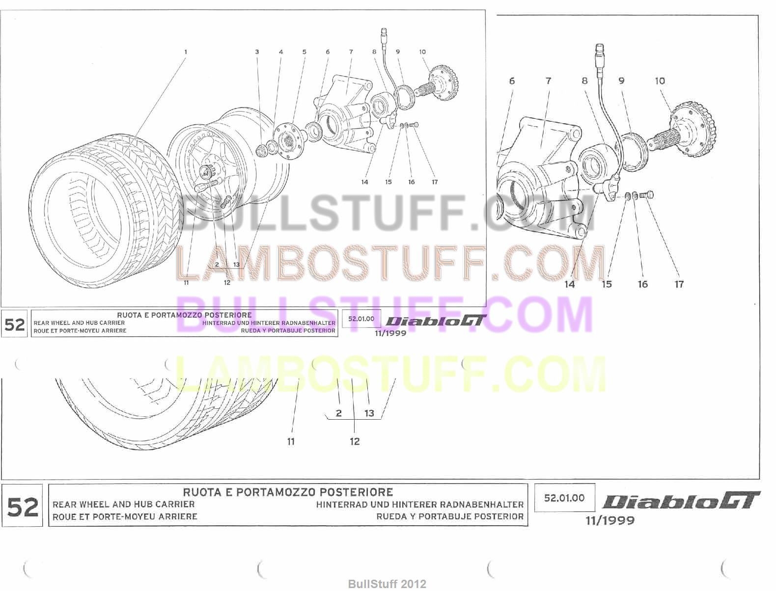 1999 lamborghini diablo gt usa rear wheel and hub carrier (52 01 00)
