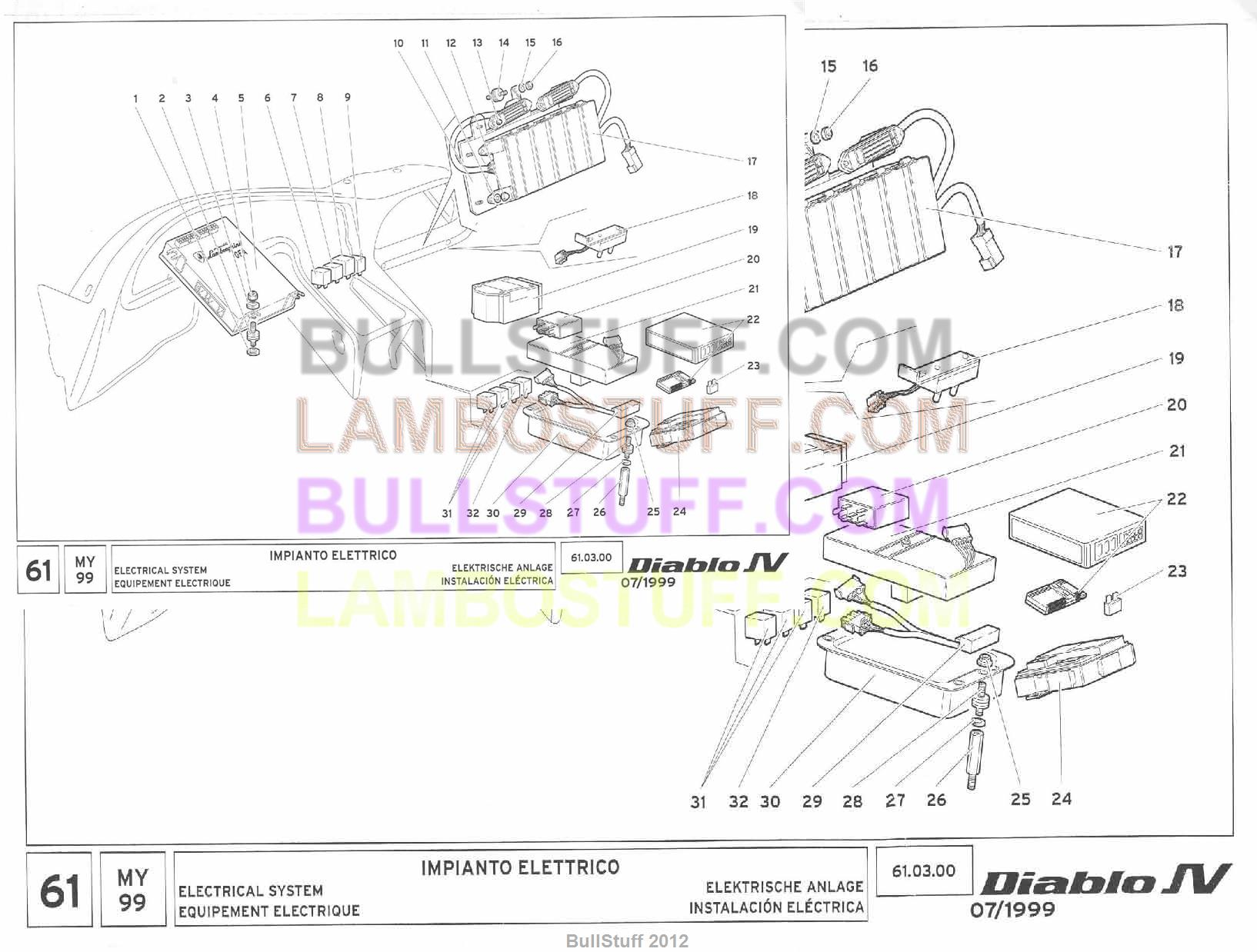1999 lamborghini diablo sv usa electrical system 61 03 00 rh bullstuff com