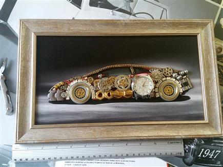 Huracan Steampunk Art silver wood frame 14 in by 9 in